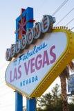 Berömd välkomnande till det sagolika Las Vegas tecknet, Las Vegas, Nevada, USA arkivbilder
