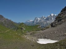 Berömda berg Eiger, Monch och Jungfrau Royaltyfria Bilder