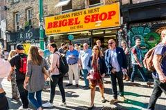 Berömda Britains först och bästa Beigel shoppar Arkivbilder