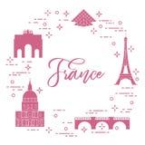 Berömda byggnader av Paris Symboler och gränsmärken royaltyfri illustrationer