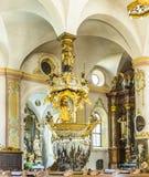 Berömda Fischerkanzel i den Trunesco abbotskloster Royaltyfri Bild