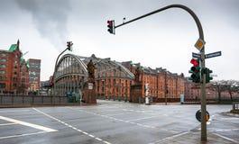 Berömda gammala Speicherstadt i Hamburg Royaltyfri Fotografi