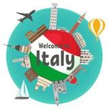 Berömda gränsmärken för italienare runt om flaggan av landet vektor illustrationer