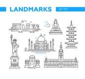 Berömda gränsmärken för värld - linjen designsymboler ställde in Royaltyfri Foto
