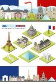 Berömda gränsmärken för vektorFrankrike lopp Paris horisontuppsättning för rengöringsduken och mobilen app Lägenhet isometrisk by Royaltyfri Bild