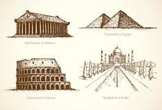Berömda historiska monument för värld Vektorn skissar stock illustrationer