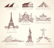 Berömda historiska monument för värld Vektorn skissar vektor illustrationer