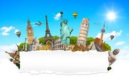 Berömda monument av världen med tomt sönderrivet papper Arkivfoton