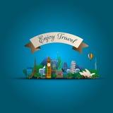 Berömda monument av världen Symbolbegrepp royaltyfri illustrationer
