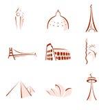 berömda monument stylized värld
