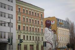 Berömda murales i Berlin East sidohotell Royaltyfria Foton