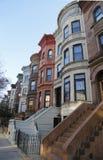 Berömda New York City rödbruna sandstenar i utsikthöjdgrannskap i Brooklyn fotografering för bildbyråer