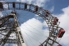Berömda och historiska Ferris Wheel av Prater parkerar, Wien Arkivbilder