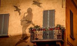 Berömda sångareLucio Dalla hus i bolognaen Fotografering för Bildbyråer
