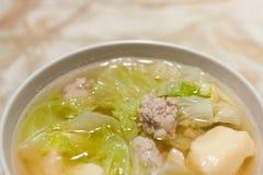 Berömda soupgrönsaker, tofu och pork, thailändsk meny Royaltyfria Foton