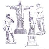 Berömda statyteckningar royaltyfri illustrationer
