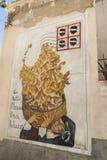 Berömda väggmålningar i Orgosolo på Sardinia Royaltyfria Bilder