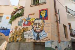 Berömda väggmålningar i Orgosolo på Sardinia Arkivfoto