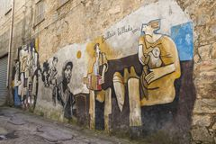 Berömda väggmålningar i Orgosolo på Sardinia Royaltyfri Foto