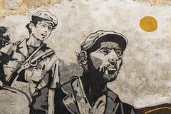 Berömda väggmålningar i Orgosolo på Sardinia Fotografering för Bildbyråer