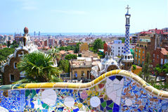 Berömdt parkera Guell i Barcelona, Spanien arkivfoton