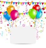 Berömkort med ballonger, konfettier och hängande flaggor Fotografering för Bildbyråer