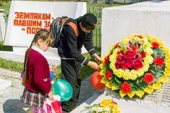 Berömmen av dagen av segern i kriget 1941-1945 i den Kaluga regionen av Ryssland Arkivbild