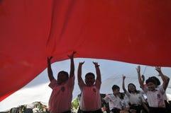Berömmen av den Indonesien självständighetsdagen royaltyfri fotografi