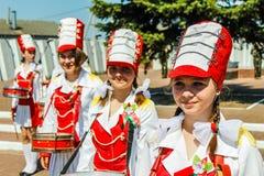 Berömmen av Victory Day i världskrig 2 kan 9, 2016, i den Gomel regionen av Republiken Vitryssland Royaltyfri Bild