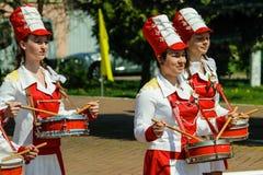 Berömmen av Victory Day i världskrig 2 kan 9, 2016, i den Gomel regionen av Republiken Vitryssland Royaltyfri Foto