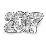 Berömnummer 2017 för lyckligt nytt år VektorXmas-illustration i zentangle Arkivbild