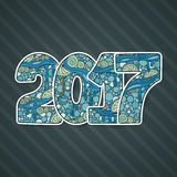 Berömnummer 2017 för lyckligt nytt år VektorXmas-illustration i zentangle Arkivfoto