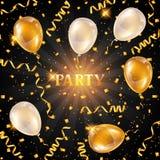 Berömpartibakgrund med guld- ballonger och slingrande Hälsning, inbjudankort eller reklamblad vektor illustrationer