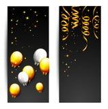Berömpartibaner med guld- ballonger och konfettier Arkivbild