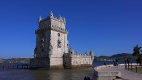 Berömt Belem torn i staden av Lissabon - LISSABON/PORTUGAL - JUNI 14, 2017 arkivfilmer