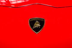 Berömt emblem av Lamborghini sportbilar arkivbild