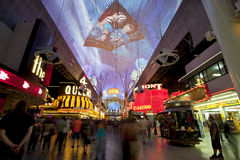 Berömt Fremont gatauteliv i Las Vegas, Navada Arkivfoton