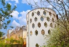 Berömt hus av arkitekten Melnikov på den Arbat gatan - Moskva Russ fotografering för bildbyråer