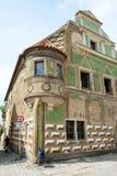 Berömt hus i Telc, Tjeckien. UNESCO Royaltyfri Foto