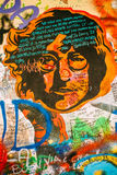 Berömt ställe i Prague - John Lennon Wall Royaltyfri Foto
