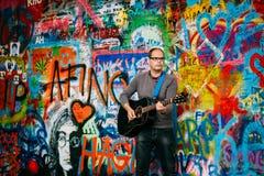 Berömt ställe i Prague - John Lennon Wall, Tjeckien Royaltyfria Foton