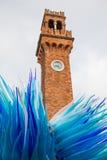 Berömt torn med en glass skulptur på Murano Royaltyfri Foto