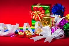 Berömtema med jul & gåvor för nytt år Royaltyfria Foton