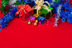 Berömtema med jul & gåvor för nytt år Arkivfoton