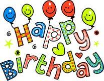 Berömtext för lycklig födelsedag royaltyfri illustrationer