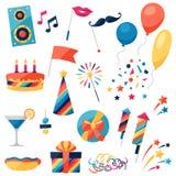 Berömuppsättning av partisymboler och objekt vektor illustrationer