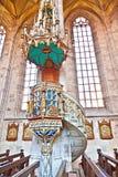 Berühmte alte Kirche St George in der mittelalterlichen Stadt von Dinkelsbuehl herein Stockfotos