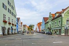 Berühmte alte mittelalterliche Stadt von Schongau Stockbild