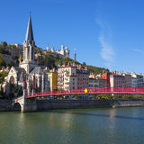 Berühmte Ansicht von Lyon-Stadt Stockfotos