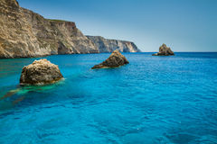 Berühmte blaue Höhlenansicht über Zakynthos-Insel, Griechenland Lizenzfreie Stockbilder